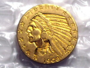 1908 $5 GOLD INDIAN HALF EAGLE
