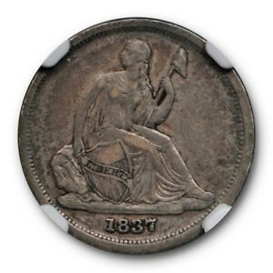 1837 SMALL DATE SEATED LIBERTY DIME NO STARS TOP 100 F 103A NGC VF 30 FINE