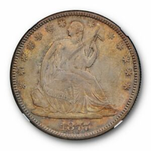 1877 SEATED LIBERTY HALF DOLLAR NGC MS 63 UNCIRCULATED TONED BEAUTY ORIGINAL