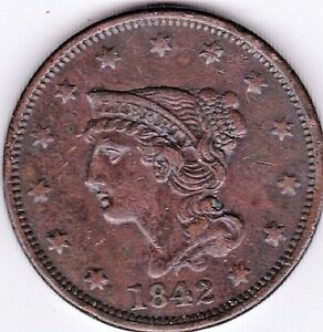 1842 BRAIDED HAIR LARGE CENT IN EXTRA FINE CONDITION  LARGE DATE