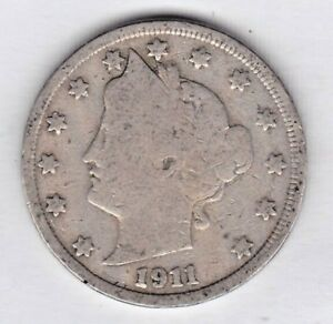 1911 LIBERTY NICKEL IN GOOD  CONDITION   STK G7