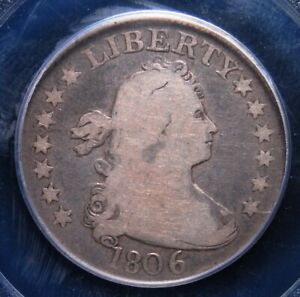 1806 DRAPED BUST QUARTER PCGS GOOD 08 EVEN MEDIUM GREY WITH LIGHTER DEVICES