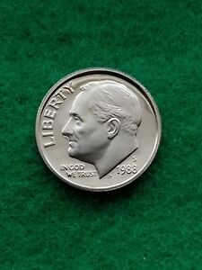 1988S  ROOSEVELT DIME  UNCIRCULATED/CAMEO   PROOF   FREE SHIP