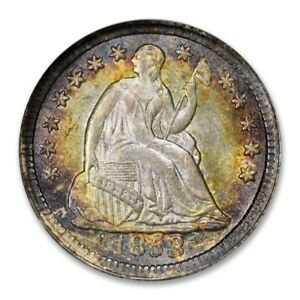Click now to see the BUY IT NOW Price! 1853 SEATED LIBERTY HALF DIME H10C NGC MS 67   STAR TONED STUNNING