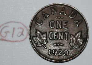 CANADA 1920 1 CENT COPPER COIN ONE CANADIAN GEORGE V PENNY LOT G12
