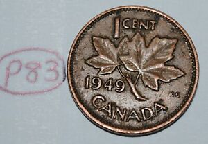 CANADA 1949 AB 1 CENT COPPER ONE CANADIAN PENNY COIN LOT P83