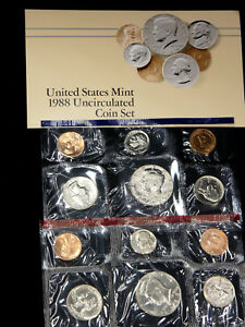 1988 P & D MINT SET 10 COINS IN US MINT PACKAGING WITH COA  401W