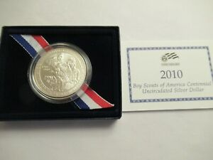 2010 US MINT UNC SILVER DOLLAR BOY SCOUTS MINT PKG/COA