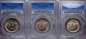 Click now to see the BUY IT NOW Price! 1935 TEXAS PDS SET PCGS MS 65/66/66 NICE MATCHED ORIGINAL SKIN  AS SUCH