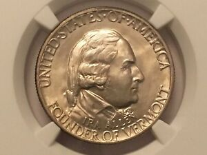 1927 VERMONT COMMEMORATIVE HALF DOLLAR NGC MS 64