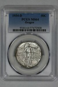 1934 D OREGON COMMEMORATIVE HALF DOLLAR 50C PCGS CERTIFIED MS 64 MINT STATE  908