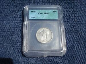 1917 STANDING LIBERTY QUARTER  ICG XF OR EF 40 TYPE 1