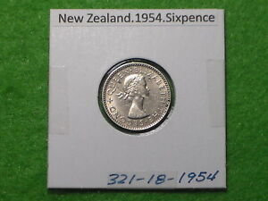 NEW ZEALAND   1954 SIXPENCE   PREDECIMAL COIN.