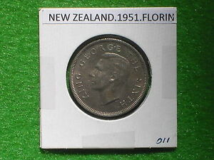 DOMINION OF NEW ZEALAND   1951 ONE FLORIN   PRE DECIMAL COIN.
