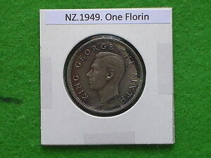 DOMINION OF NEW ZEALAND   1949 ONE FLORIN   PRE DECIMAL COIN.