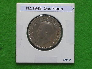 DOMINION OF NEW ZEALAND   1948 ONE FLORIN   PRE DECIMAL COIN.