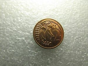 NEW ZEALAND 1982 COIN 2 CENTS QUEEN ELIZABETH II   KOWHAI LEAVES