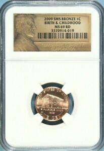 2009 SMS BRONZE LINCOLN CENT NGC MS 69 RED BIRTH & CHILDHOOD  GA8 10