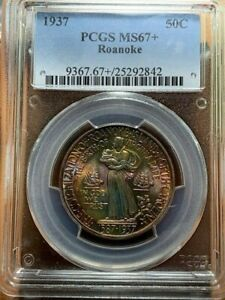 Click now to see the BUY IT NOW Price! 1937 ROANOKE PCGS MS67  RAINBOW TONED