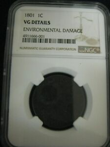 1801 DRAPED BUST LARGE CENT NGC CERTIFIED GOOD DETAILS
