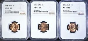 3  1966 SMS LINCOLN CENTS NGC 67 RD