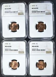 4  NGC MS66RD LINCOLN CENTS: 2 1973 2 1975