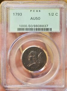 Click now to see the BUY IT NOW Price! 1793 1/2 C HALF CENT LIBERTY C 2 GREEN OLDER PCGS HOLDER AU50
