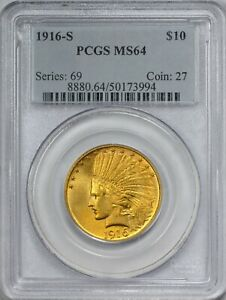 1916 S GOLD $10 INDIAN EAGLE PCGS MS64