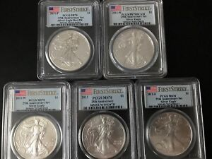 2011 P/S/W/W SILVER EAGLE  PCGS PR70 MS70 FIRST STRIKE  25TH ANNIVERSARY SET