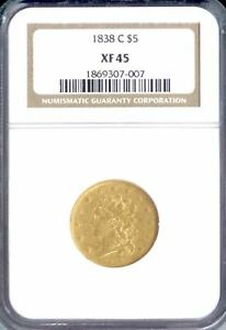 Click now to see the BUY IT NOW Price! 1838 C $5 CLASSIC HEAD XF45 NGC  PA1869307007