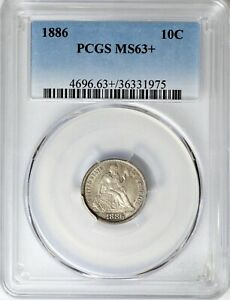 1886 SEATED LIBERTY DIME PCGS MS63  PLUS GRADE GORGEOUS  BBD0219