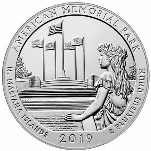 2019 AMERICAN MEMORIAL PARK 5OZ SILVER AMERICA BEAUTIFUL BU SKU57700