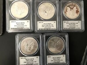 5 2011 P/S/W SILVER EAGLE 25TH ANNIVERSARY SET FIRST STRIKE MERCANTI PCGS ALL 70