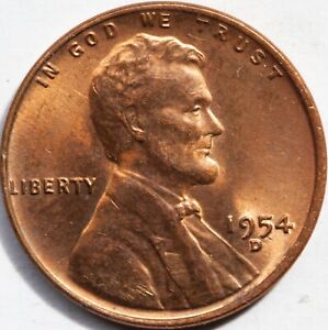 1954 D LINCOLN WHEAT CENT UNC FROM OBW ROLL RED WOW LOOK   BIG PICS