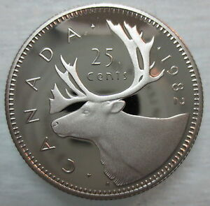 1982 CANADA 25 CENTS PROOF QUARTER COIN