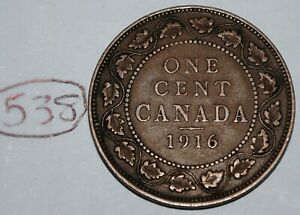 CANADA 1916 1 LARGE CENT CANADIAN ONE GEORGE V PENNY COIN LOT 538