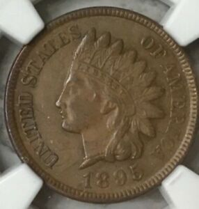 1895 INDIAN CENT NGC MS 62 BN MINT LUSTER.