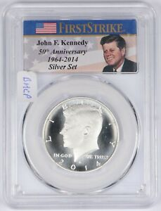 Click now to see the BUY IT NOW Price! 2014 S FIRST STRIKE 50TH ANN ENHANCED KENNEDY SILVER HALF DOLLAR PCGS MS70 DMPL
