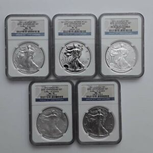 5 COIN SET 2011 SILVER EAGLE 25TH ANNIVERSARY EARLY RELEASE NGC PF70 MS70