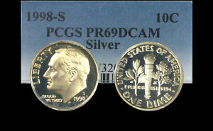 Click now to see the BUY IT NOW Price! 1998 S SILVER ROOSEVELT DIME   PCGS PR69DCAM   SOFTLY TONED