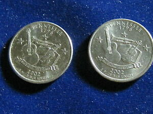US 2002 D & 2002 P TENNESSEE STATE QUARTERS.
