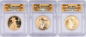 Click now to see the BUY IT NOW Price! 3 COIN 2006 W 1OZ GOLD AMERICAN EAGLE 20TH ANNIVERSARY SET ICG SP70 PR70 DCAM