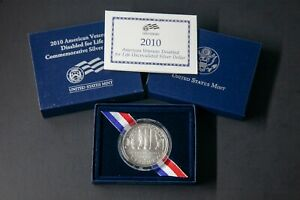 2010 W AMERICAN VETERANS DISABLED UNCIRCULATED COMMEMORATIVE SILVER DOLLAR