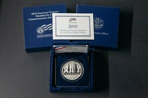 2010 W US MINT AMERICAN VETERANS DISABLED FOR LIFE SILVER DOLLAR PROOF  BOX COA