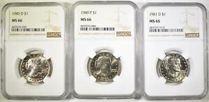 1980 P&D 81 D S.B. ANTHONY DOLLARS NGC MS 66
