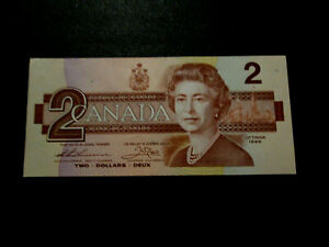 CANADIAN 1986 2 DOLLAR BANK NOTE BILL UNC MINT TOONIE PAPER MONEY  TWO DOLLARS