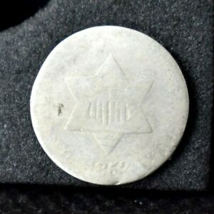 1852 THREE CENT SILVER 3 AG ABOUT GOOD 75  SILVER