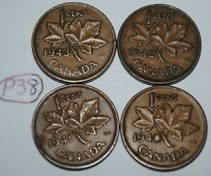 CANADA 1940 1941 1942 1943 1 CENT COPPER ONE CANADIAN PENNY 4 COINS LOT P38