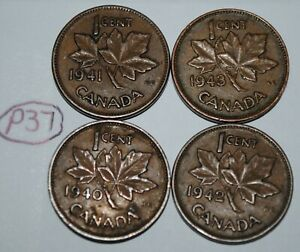 CANADA 1940 1941 1942 1943 1 CENT COPPER ONE CANADIAN PENNY 4 COINS LOT P37