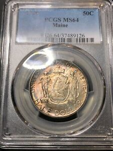 1920 MAINE COMMEMORATIVE HALF DOLLAR 50C PCGS MS64 ORIGINAL TONING BEAUTIFUL WOW